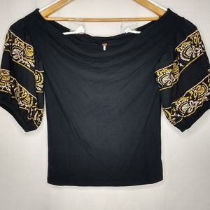 Free People Large Black Embroidered Sleeve Top